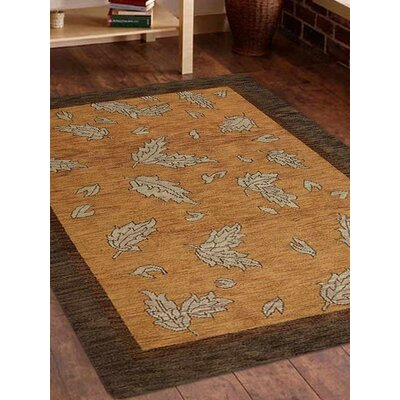Rugsotic Hand-Knotted Gold/Brown Area Rug Rug Size: 12 x 9