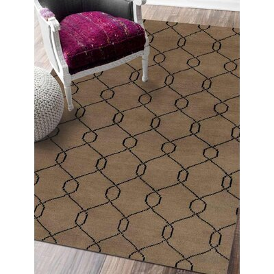 Rugsotic Hand-Knotted Beige/Black Area Rug Rug Size: 10 x 8