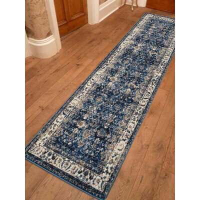 Areswell Ivory/Blue Area Rug Rug Size: Runner 26 x 10