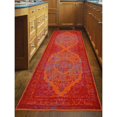 Boxdale Orange/Red Area Rug Rug Size: Runner 26 x 10