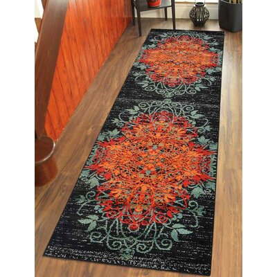 Bowmans Orange/Green Area Rug Rug Size: Runner 26 x 10