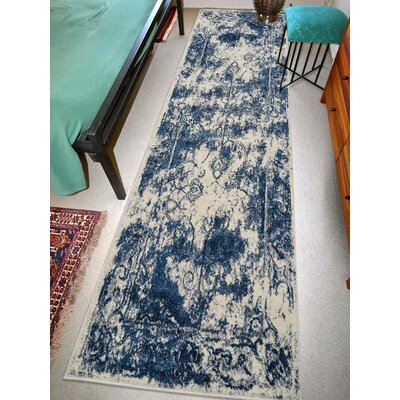 Appenzell Ivory/Blue Area Rug Rug Size: Runner 26 x 10