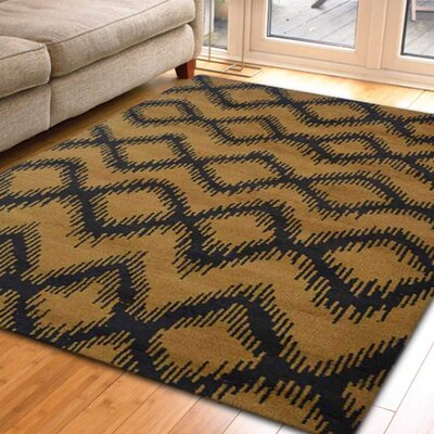Rugsotic Hand-Knotted Gold/Charcoal Area Rug Rug Size: 10 x 8