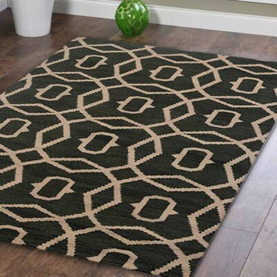 Rugsotic Hand-Knotted Green/Beige Area Rug Rug Size: 12 x 9