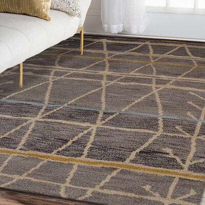 Rugsotic Hand-Knotted Wool Brown/Beige Area Rug Rug Size: 9 x 6