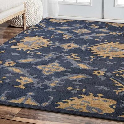 Rugsotic Hand-Knotted Blue/Beige Area Rug