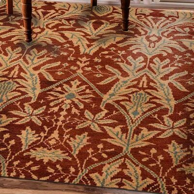 Rugsotic Hand-Knotted Red/Gold Area Rug Rug Size: 9 x 6
