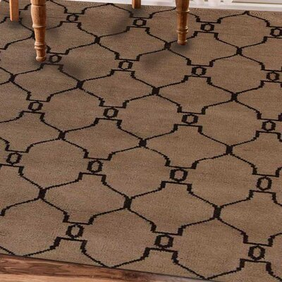 Rugsotic Hand-Knotted Beige/Brown Area Rug Rug Size: 8 x 5
