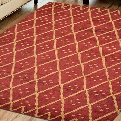 Casden Hand-Knotted Red/Gold Area Rug Rug Size: 5 x 8
