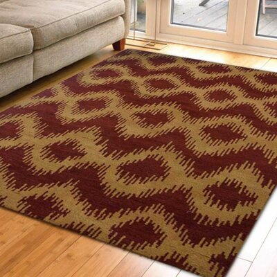 Stacie Hand-Knotted Red/Gold Area Rug Rug Size: 9 x 12