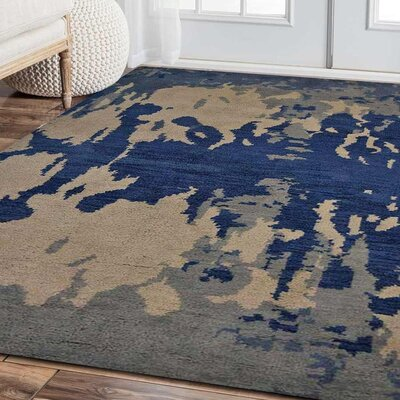Tamera Hand-Knotted Blue/Beige Area Rug Rug Size: Rectangle 9 x 12