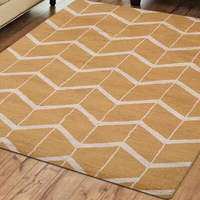 Mica Hand-Knotted Gold/Beige Area Rug Rug Size: Rectangle 5 x 8