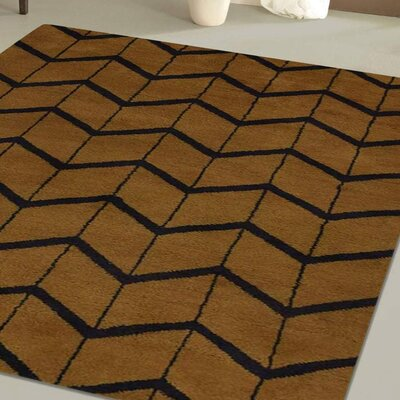 Mica Hand-Knotted Gold/Charcoal Area Rug Rug Size: Rectangle 10 x 14