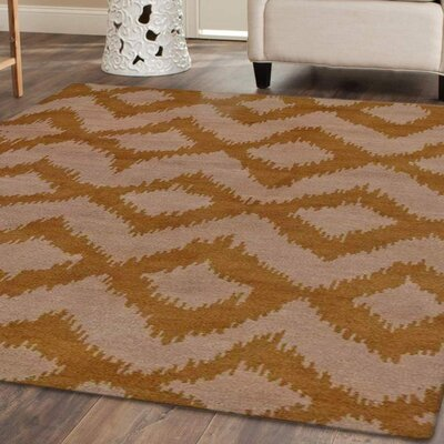 Rugsotic Hand-Knotted Beige/Gold Area Rug