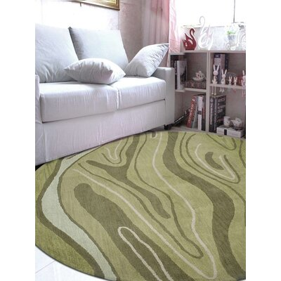 Predmore Abstract Hand-Tufted Wool Green Area Rug Rug Size: Round 8 x 8