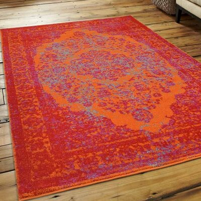 Boxdale Orange/Red Area Rug Rug Size: 44 x 64