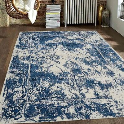 Appenzell Ivory/Blue Area Rug Rug Size: Rectangle 34 x 5