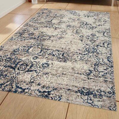 Boxley Beige/Blue Area Rug Rug Size: 5 x 8