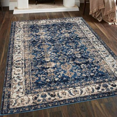 Areswell Ivory/Blue Area Rug Rug Size: 4 x 6