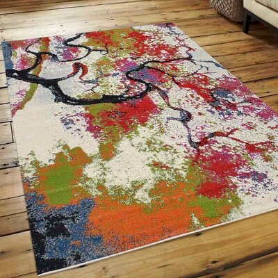 Chumbley Green/Red Area Rug Rug Size: 3'4