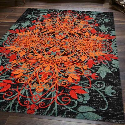 Anneliese Orange/Green Area Rug Rug Size: 9 x 12