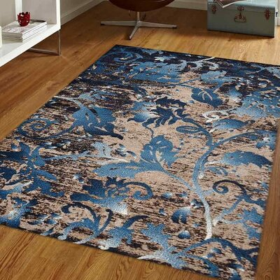 Bowning Blue Area Rug Rug Size: 6 x 9