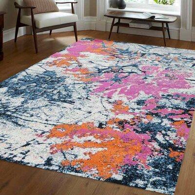 Chunn Orange/Blue Area Rug Rug Size: 4 x 6