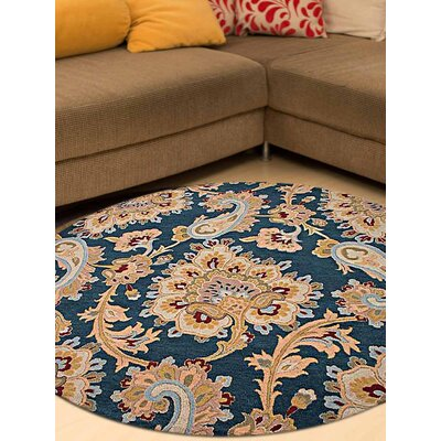 Reser Hand-Woven Blue Area Rug Rug Size: Round 8