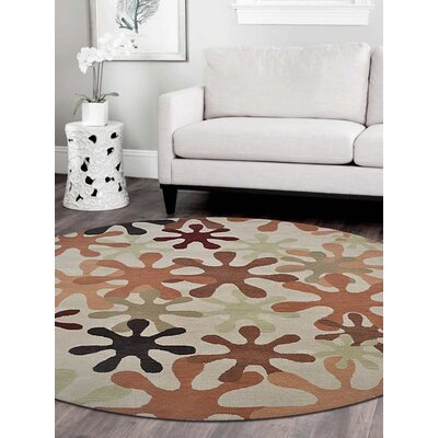Ringwood Hand-Woven Beige Area Rug Rug Size: Round 8