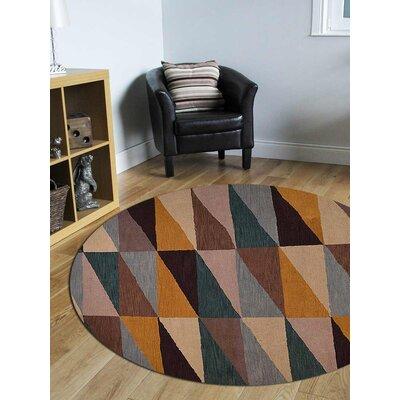 Glantz Hand-Woven Black/Brown/Beige Area Rug Rug Size: Round 8