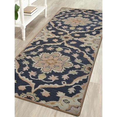 Hand-Tufted Charcoal Area Rug Rug Size: Runner 26x8