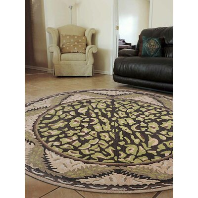 Hand-Tufted Brown/Beige Area Rug Rug Size: Round 8'