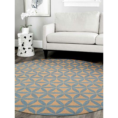Hand-Tufted Gold/Blue Area Rug Rug Size: Round 8'