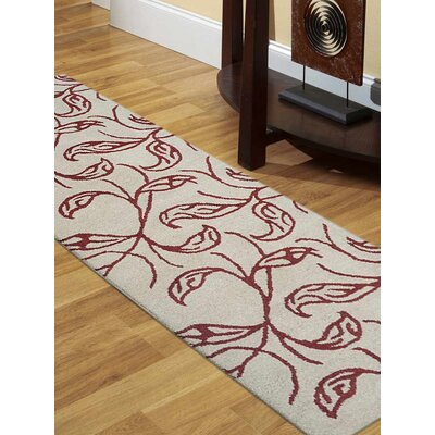 Hand-Tufted Beige/Red Area Rug Rug Size: Runner 26 x 8