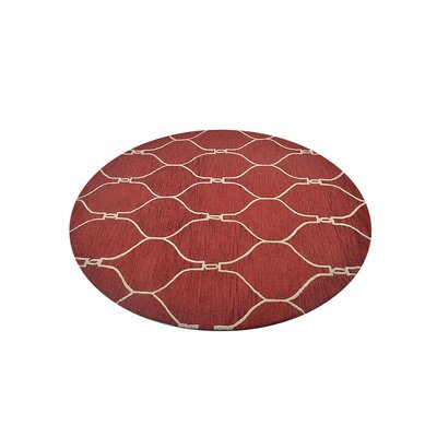 Hand-Tufted Red/Beige Area Rug Rug Size: Round 8'
