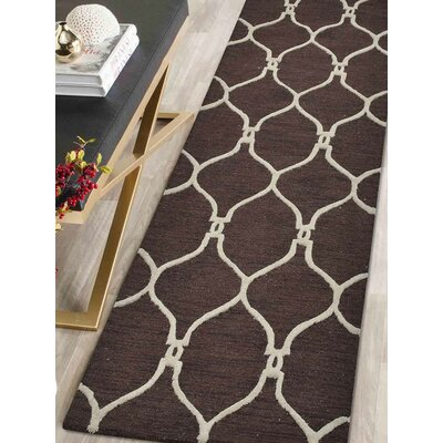 Hand-Tufted Brown/Beige Area Rug Rug Size: Runner 26 x 8