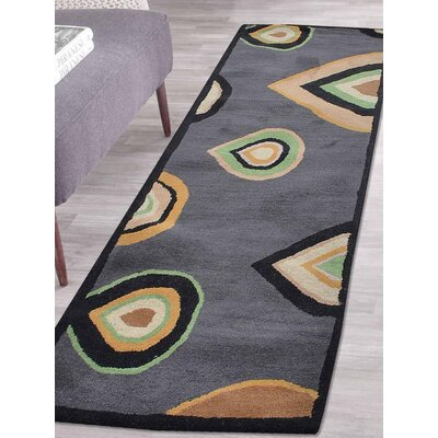Hand-Tufted Charcoal Area Rug Rug Size: Runner 26 x 8