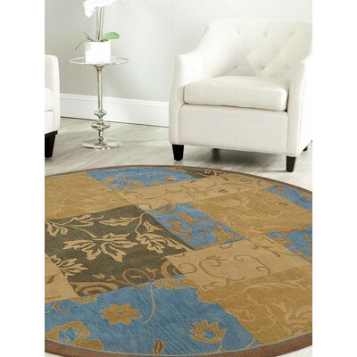 Hand-Tufted Gold Area Rug Rug Size: Round 5