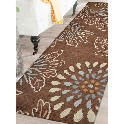 Hand-Tufted Brown Area Rug Rug Size: Runner 26x8