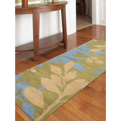 Hand-Tufted Green Area Rug Rug Size: Runner 26 x 8