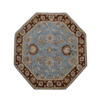 Mazzariello Vintage Hand-Woven Wool Blue/Brown Area Rug Rug Size: Octagon 8