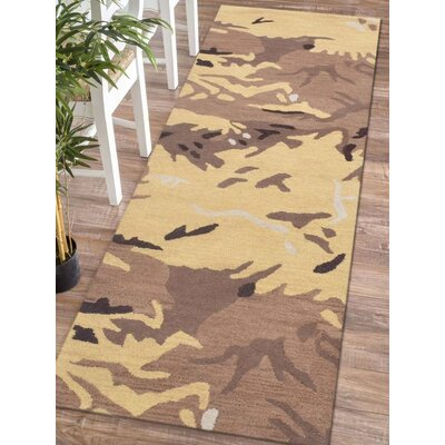 Micaela Contemporary Hand-Woven Wool Brown/Gold Area Rug Rug Size: Runner 26 x 8