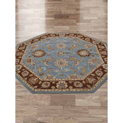 Clifford Vintage Hand-Tufted Wool Blue/Brown Area Rug Rug Size: Octagon 8