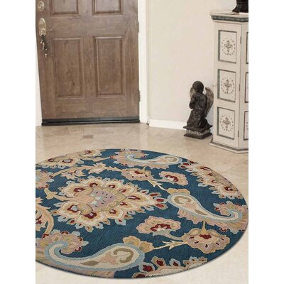 Dimondale Hand-Tufted Wool Dark Blue Area Rug Rug Size: Round 8