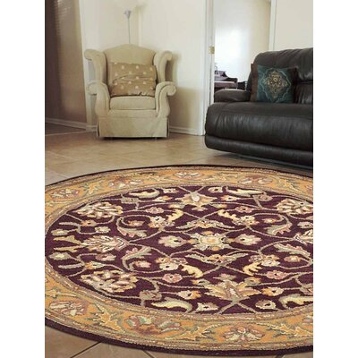 Doidge Vintage Hand-Tufted Wool Maroon/Beige Area Rug
