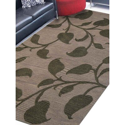 Borden Floral Hand-Tufted Wool Brown Area Rug
