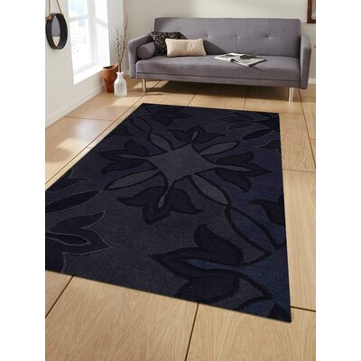 Kala Floral Hand-Tufted Wool Blue Area Rug Rug Size: 5 x 8