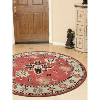Racheal Hand-Tufted Wool Red/Beige Area Rug Rug Size: Round 6