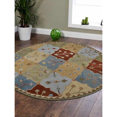 Louisville Floral Hand-Tufted Wool Green/Blue Area Rug