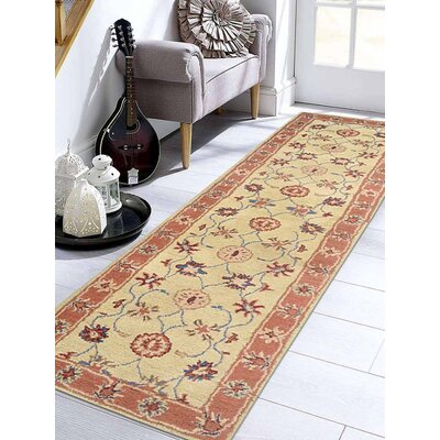Beallsville Vintage Hand-Tufted Wool Gold/Rust Area Rug Rug Size: Runner 26 x 10